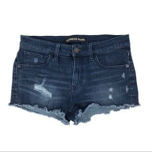 Express Distressed Frayed Denim Jean Shorts
